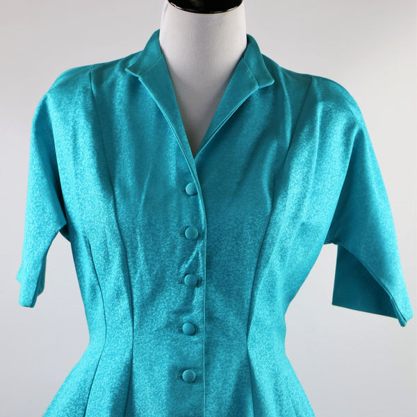 Vintage 1950's Cerulean Blue Faille Button Down Dress With Pockets