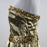 1980's XS Metallic Gold Strapless Gunne Sax Dress with Golf Sequin Belt and Bodice Trim