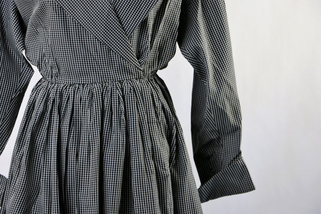 Vintage 1990's Black and White Grid Check Bill Blass Evening Coat Dress