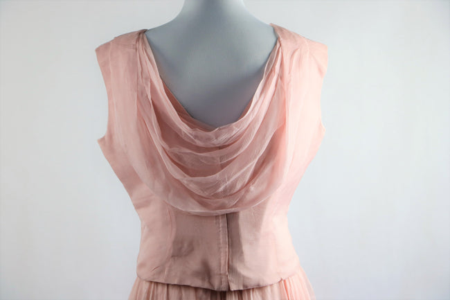 Vintage 1960's Baby Pink Silk 2 Piece Skirt and Top Set