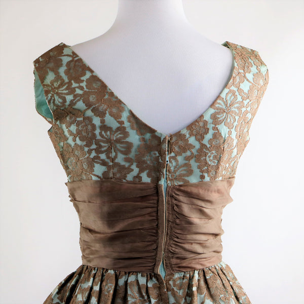 Vintage 1960's Jr. Theme Baby Blue and Chocolate Brown Lace Dress