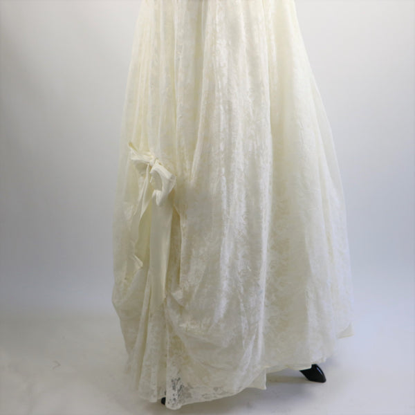 Vintage 1980's TD4 by Electra White Romantic Strapless Floral Lace Gown