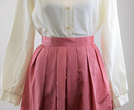 Vintage 1980's Pink Victorian Inspired Cottage Core Prairie Dress with White Mesh