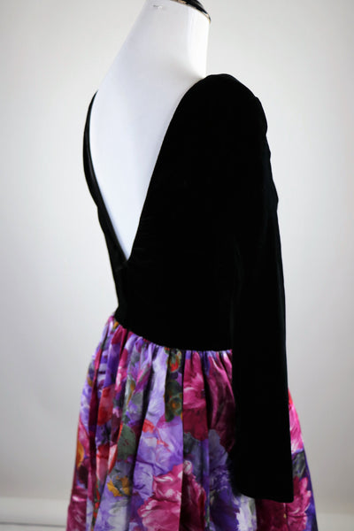 Vintage 1980's Jessica McClintock Velvet and Floral and Fruit Print Evening Gown