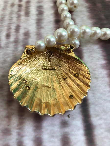Vintage Marvella Mermaid Faux Pearl Necklace With Large Gold Tone Shell
