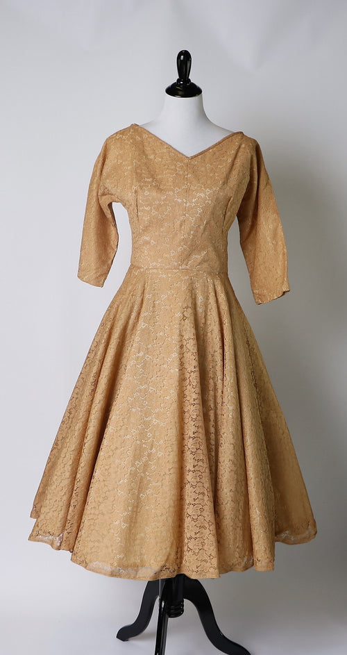 Vintage 1950's Butterscotch Fit-And-Flare Lace Dress