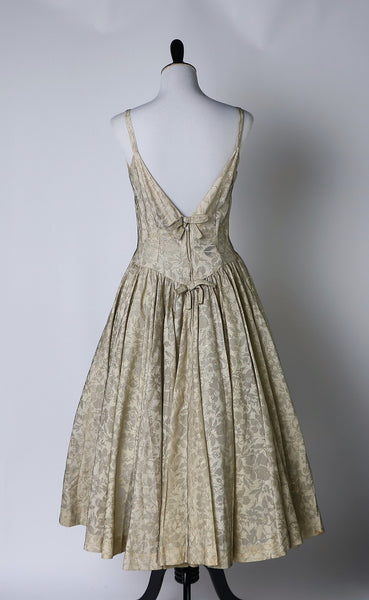 Vintage 1950's Jack Horwitz/Shannon Rodgers Floral Evening Dress with Gold Threading and Black Mesh Overlay