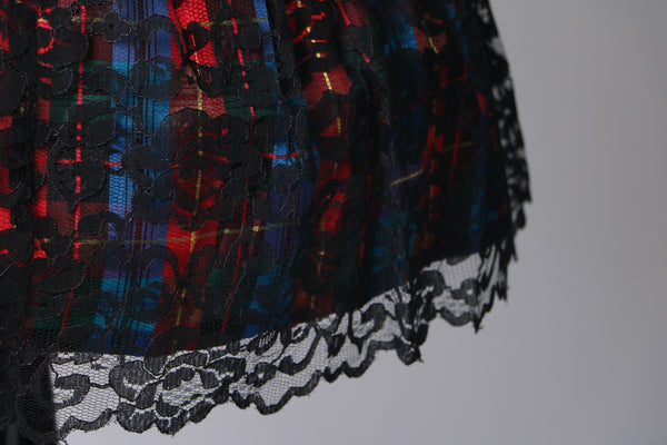 Vintage 1980's Multi-Colored Rainbow Plaid Dress with Black Lace Overlay