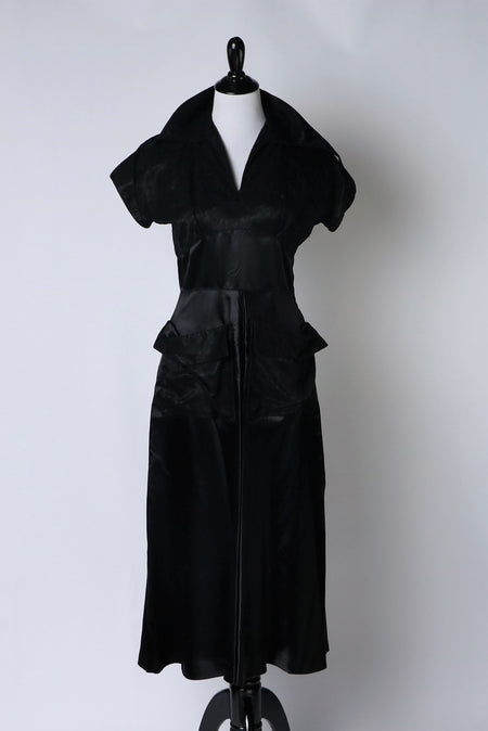 Vintage Black Taffeta 1980's Bubble Harem Pants with Pockets