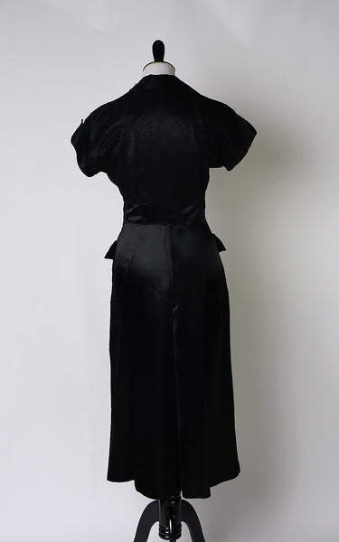 Vintage late 40's / Early 1950's Donald Original Black Satin Dress with Large Front Lace Trimmed Pockets, Collar and Cuffs