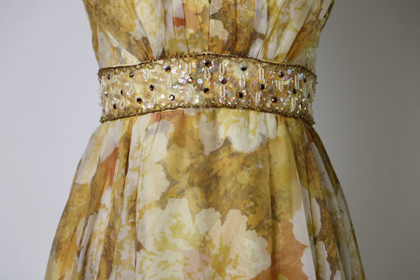 Vintage 1960's Yellow/Brown Fall Floral Chiffon Gown with Waist Sparkle Embellishments