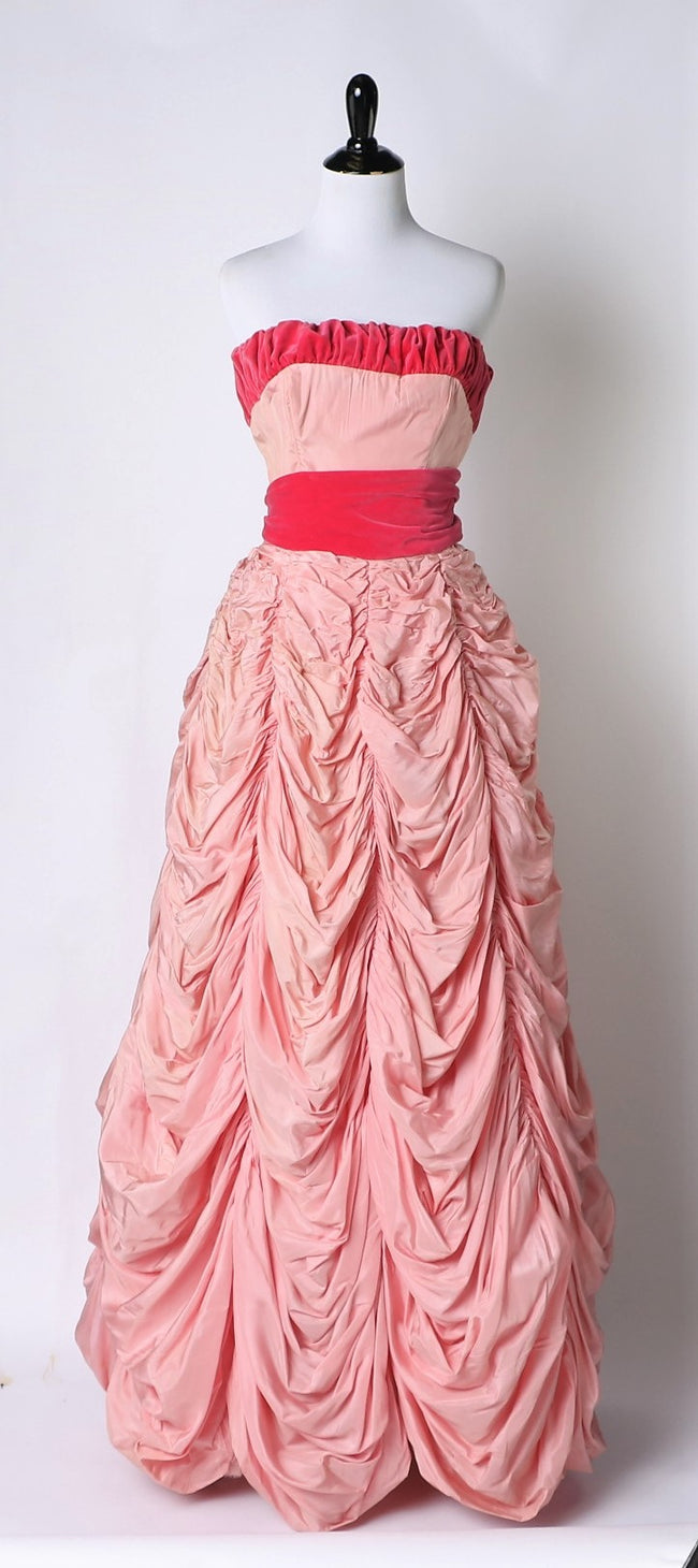 23cb7497aa1d Vintage mid-late 1950's Rare Pink Parachute Ball Gown with Velvet Bodice  Trim and Sash