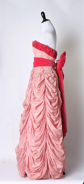 Vintage mid-late 1950's Rare Pink Parachute Ball Gown with Velvet Bodice Trim and Sash
