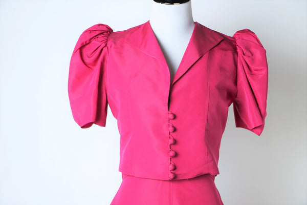 Vintage 1940's Raspberry Gown and Bolero Jacket Two Piece Set