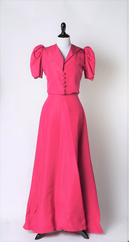 Vintage 1950's Coral Lace and Chiffon Dress with attached belt