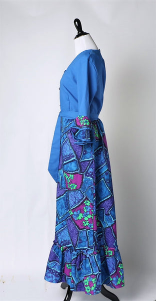 Vintage 1960's Printed Maxi Dress Hostess Gown with Ruffle Belle Sleeves Elegant Lady Originals Ltd. Montreal