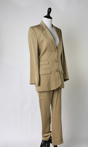 Vintage Katherine Hamnett Tan Women's Single Breasted Suit