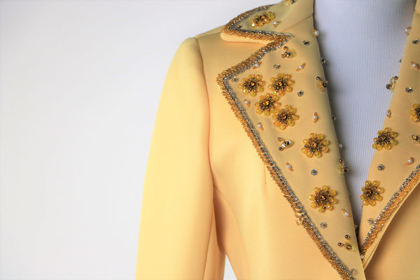 Vintage 1960's Lilli Ann Yellow Beaded and Jeweled Embellished Blazer