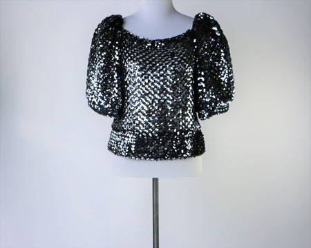 Vintage Chocolate Copper Sequin Sweater
