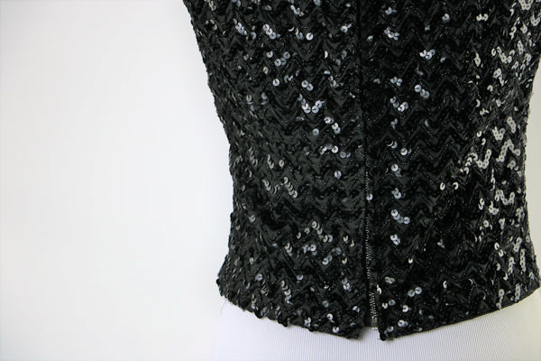 Vintage Black Sequin Top (Shell) with Back Metal Zipper