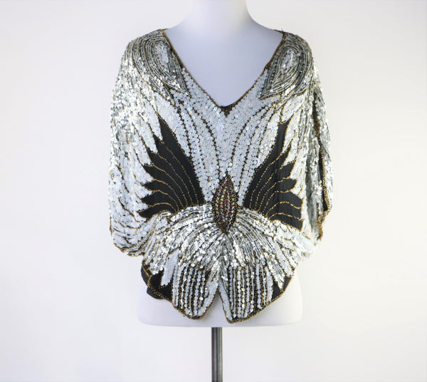 Vintage Black and White Silk Butterfly Top with Multi-Color Beading and Sequins