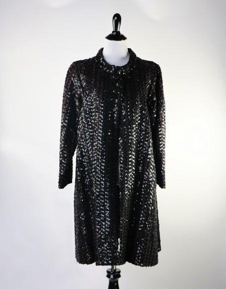 Vintage Black and Silver Gown with Stunning Brocade Floral Patterned Skirt