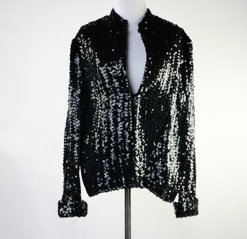 Black Sequin Blazer Jacket Rob Hill for Mister Jay Holiday Evening or Day