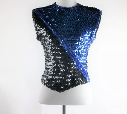 Black and Blue Sequin Show Stopper Marching Band Dance Top