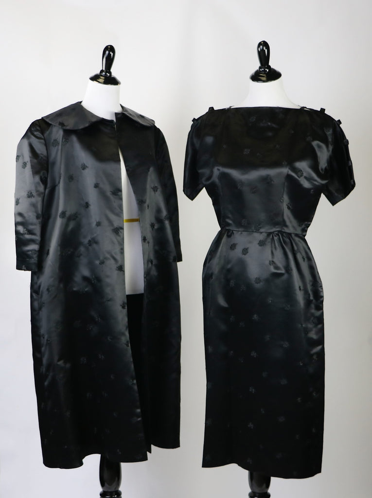 e313326fc23 Vintage Late 1940 s Early 1950 s Lustrous Black Brocade Satin Dress and  Jacket Set