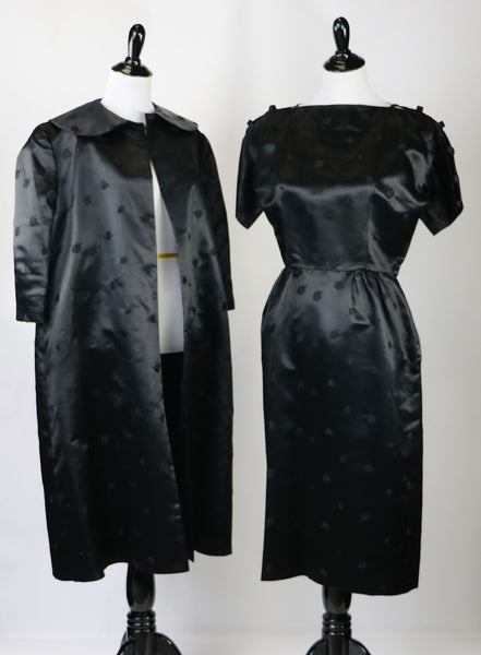 Vintage Late 1940's/Early 1950's Lustrous Black Brocade Satin Dress and Jacket Set