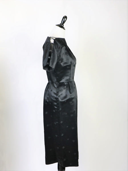 1e7cffef6dd ... Vintage Late 1940 s Early 1950 s Lustrous Black Brocade Satin Dress and  Jacket ...