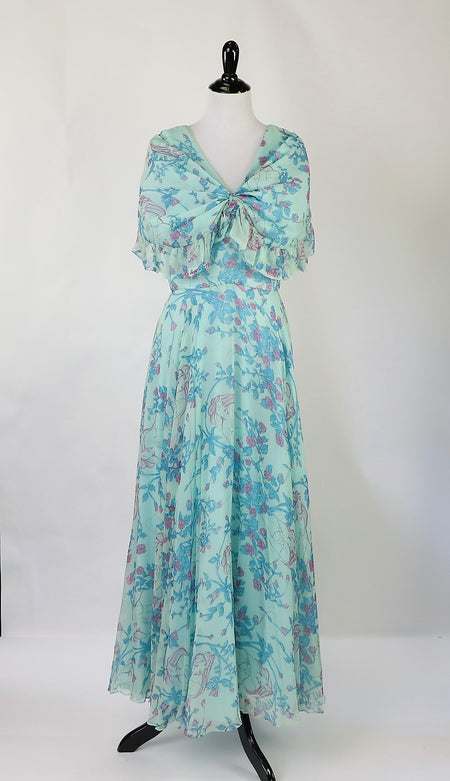 Vintage 1940's Floral Firework Print Cotton Dress