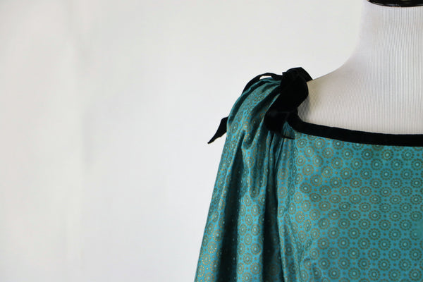 Vintage 1950's Blue Dress with Metallic Gold Geometric Floral Print, Velvet Trim and Bishop Sleeves