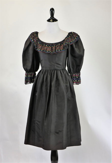 Vintage 1950's Little Black Dress with Lace Bodice and Rhinestone Details