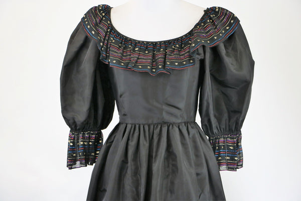 Vintage 1980's Black Party Cocktail Dress with Embellished Colorful Chiffon Trim