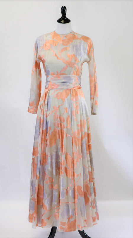 Vintage 60's/70's Chiffon Poppy Floral Print Maxi Dress with Orange Velvet Belt