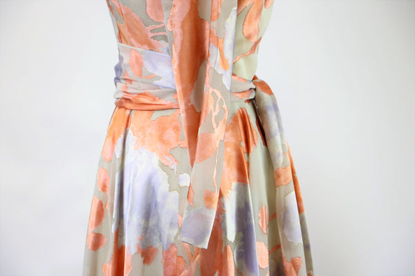 Vintage  60's/70's Ann Fogarty Pastel Mauve/ Peach Watercolor Burnout Printed Maxi Dress with Matching Sash