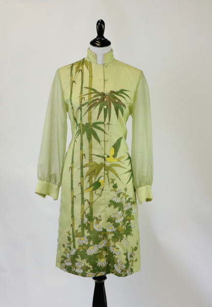 Vintage 1960's Green Alfred Shaheen Oriental Bamboo and Bird Print Long Sleeve Dress