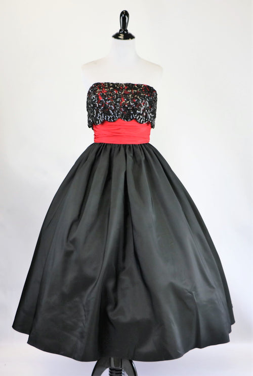 cd6decc69f7f Vintage Mike Benet Formals Black and Red Strapless Dress with Sequin Bodice  and Full Skirt XS