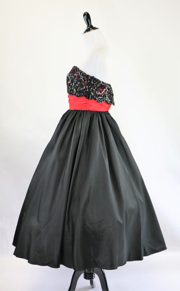 Vintage Mike Benet Formals Black and Red Strapless Dress with Sequin Bodice and Full Skirt XS/S