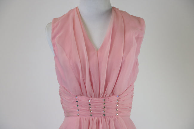 1960's Vintage Mike Benet Formals Pink Chiffon Evening Gown With Jeweled Waist