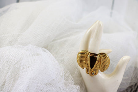 Vintage Gold Tone Leaf Statement Cocktail Ring