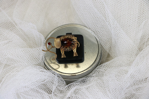 Vintage Adjustable Elephant Brooch Statement Cocktail Ring