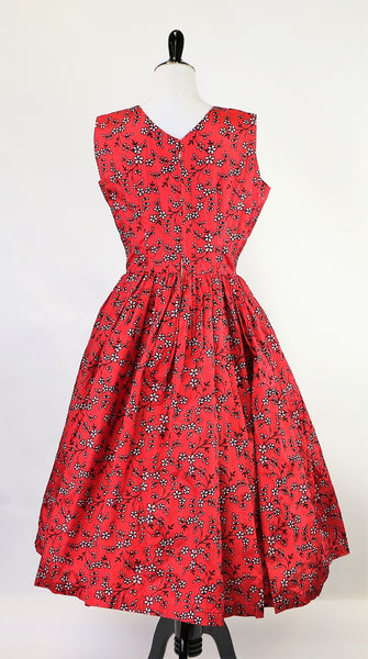 Vintage 1950's Red Flocked Floral Print Dress