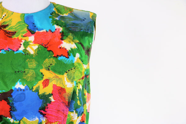 Vintage 1960's Floral Dress with Colored Rhinestone Clusters on Bodice and Back
