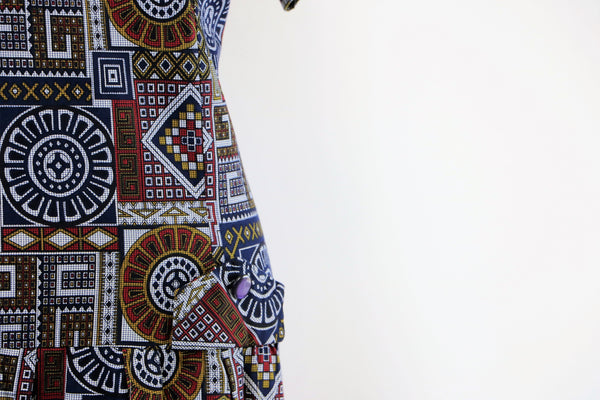 Vintage 1960's Cotton Graphic Tribal Printed Dress