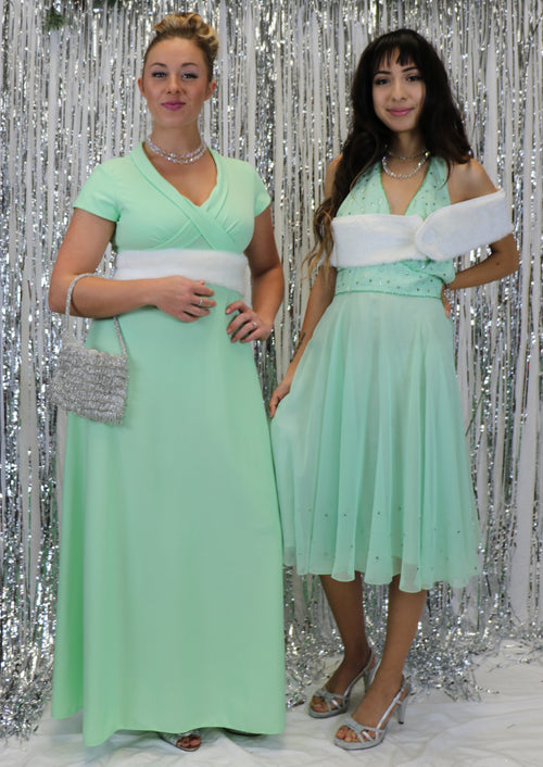 Vintage 1960's Mint Halter Dress with Rhinestone Bodice and Hem
