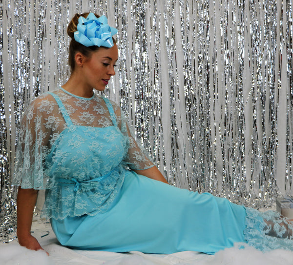 Vintage 1970's Baby Blue Lace  and Poly Romantic Gown