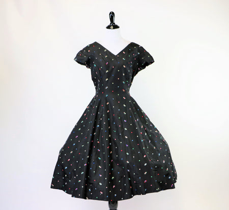 Vintage 1980's Black and White Floral Flocked Dress
