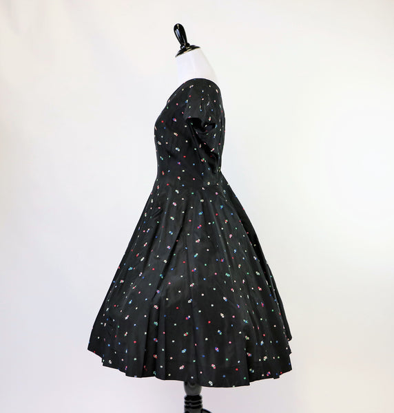 Vintage 1950's Black Taffeta Dress with Colorful Embroidered Flower Print
